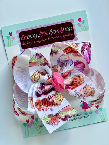 "Princess Hairbow, Princess Bow, Tiana, Rapunzel, Mulan Bow - Choose 4-5"" or 7"" size - Darling Little Bow Shop"