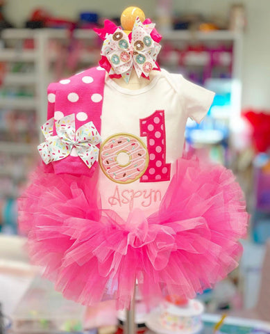 Donut Birthday Tutu Outfit, Donut Grow Up in pink and hot pink - Darling Little Bow Shop