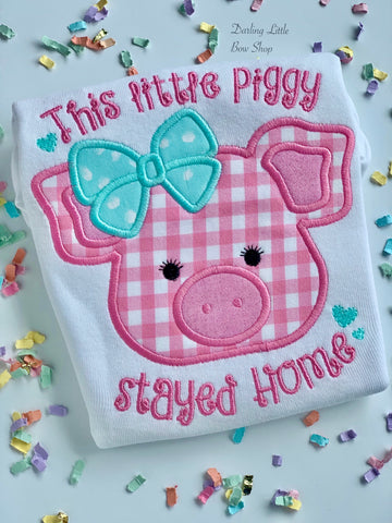 This little piggy stayed Home shirt or bodysuit for girls in pink and aqua blue - Darling Little Bow Shop