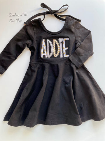 Silver and Gold long sleeve Black Dress - choose twirly dress or ruffle detail - Darling Little Bow Shop