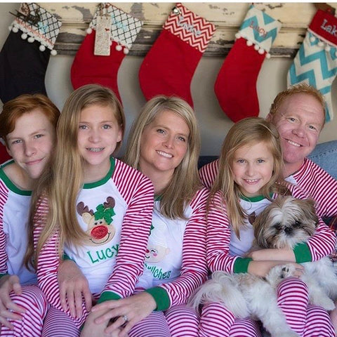 LIMITED Family Christmas Pajamas and Nightgowns - raglan striped style - infant to adult sizes - Darling Little Bow Shop