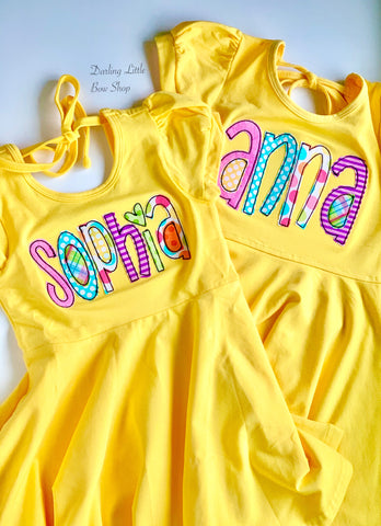 Twirly Dress for Girls with rainbow color name - Darling Little Bow Shop