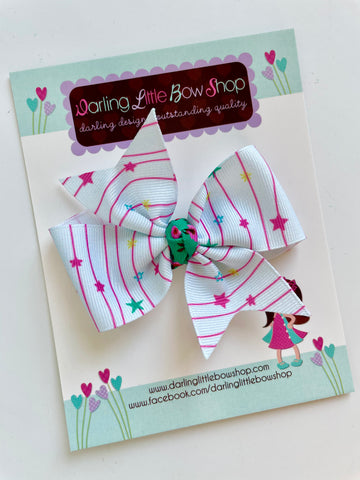Winter Dreamscape Stars hairbow - READY TO SHIP - Darling Little Bow Shop