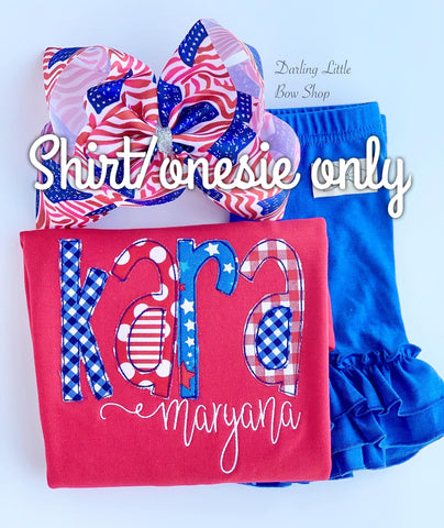 Red flutter sleeve shirt or baby bubble for 4th of July - Darling Little Bow Shop