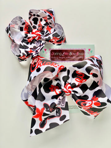 Eat more Chikin Bow, cow theme hairbow in 4-5 inch or 7 inch size - Darling Little Bow Shop