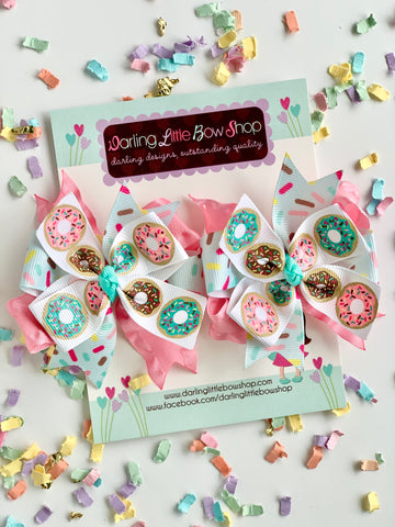 Donut Pigtail bows - small donut hairbows - Darling Little Bow Shop