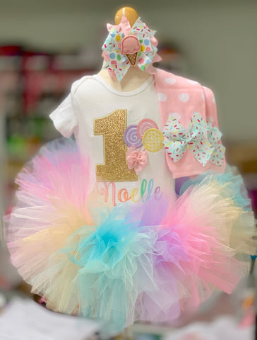 Sweet ONE 1st Birthday Tutu Outfit - Baby Girl Donut Birthday Outfit - Made in USA - Darling Little Bow Shop