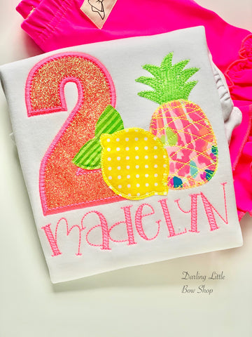 Lilly Pulitzer fabric Pineapple Birthday Shirt or bodysuit for girls, Pineapple Shirt - Tutti Frutti - beautiful pineapple theme birthday shirt - Darling Little Bow Shop