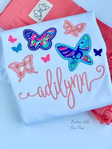 Lilly Butterfly shirt, ruffle shirt, tank or bodysuit - Coral and blues - Darling Little Bow Shop