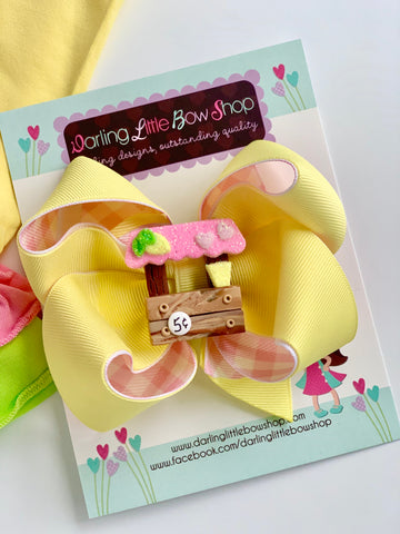 Lemonade Stand hairbow, choose single or double stacked - Darling Little Bow Shop