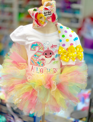 Baby Shark Birthday Tutu Outfit - For any age birthday Made in USA - Darling Little Bow Shop