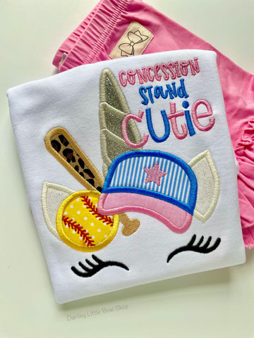 Baseball or Softball Unicorn shirt or bodysuit for girls - Darling Little Bow Shop