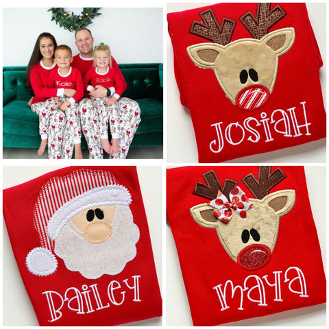Family Christmas Pajamas -Santa's Workshop - infant to adult sizes - Darling Little Bow Shop