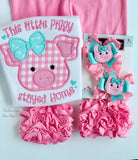 Pig hairbows in pink and aqua, choose single bow or pigtail set - Darling Little Bow Shop