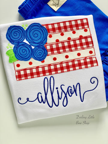 American Flag shirt, tank or bodysuit for Girls 4th of July - Darling Little Bow Shop