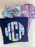 Lilly Mermaid in The Shade print monogram navy sweatshirt - Darling Little Bow Shop