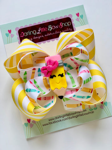 "Pencil bow - fun 5"" double stacked bow with adorable pencil center - Darling Little Bow Shop"