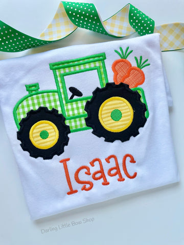 Easter Tractor Shirt or Bodysuit for boys - sweet green and yellow tractor hauling carrots - Darling Little Bow Shop