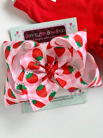 "Strawberry Hairbow 6"" - Darling Little Bow Shop"