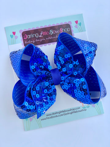 "Royal Blue Sequin HairBow 4-5"" size - Darling Little Bow Shop"
