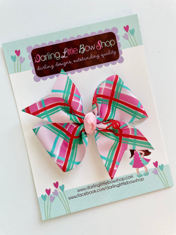 On The Go Plaid hairbow - READY TO SHIP - Darling Little Bow Shop