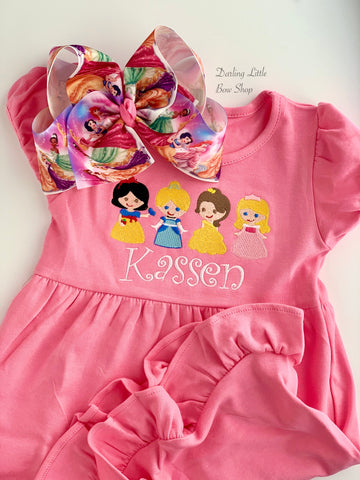 Pink Princess Ruffle Shirt or Dress - size 6m to girls 12 - Darling Little Bow Shop