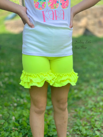 Neon Yellow Ruffle Shorties, Neon Yellow Ruffle Shorts - Darling Little Bow Shop