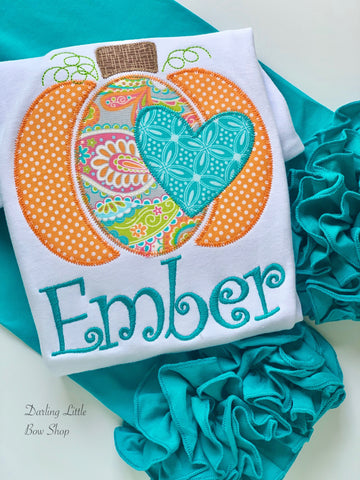 Pumpkin shirt or bodysuit for girls - Teal is the New Orange - Darling Little Bow Shop