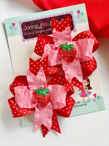 Strawberry hairbows, strawberry pigtail bows - Darling Little Bow Shop