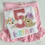Puppy Kitty Birthday shirt or bodysuit ANY AGE, Dog and Cat birthday - Darling Little Bow Shop