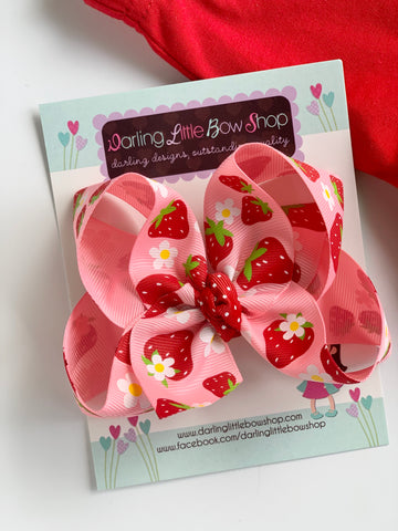 Strawberry Hairbow with optional headband - Darling Little Bow Shop