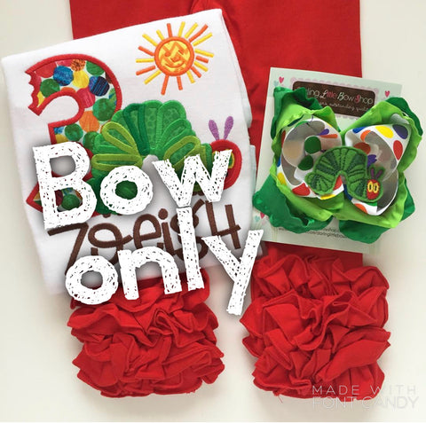 Very Hungry Caterpillar hairbow - Darling Little Bow Shop