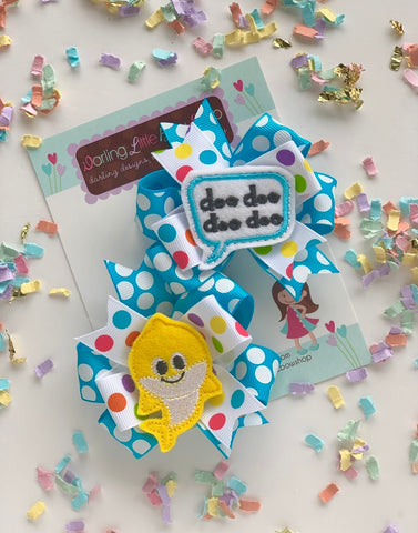 Baby Shark pigtail bows - Darling Little Bow Shop