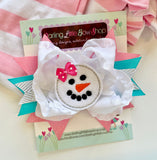 Snowman Hairbow in pink, white, silver and blue - Darling Little Bow Shop