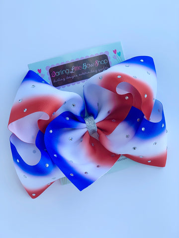 "Ombré bow for 4th of July bow in red, white and blue 7"" - Darling Little Bow Shop"