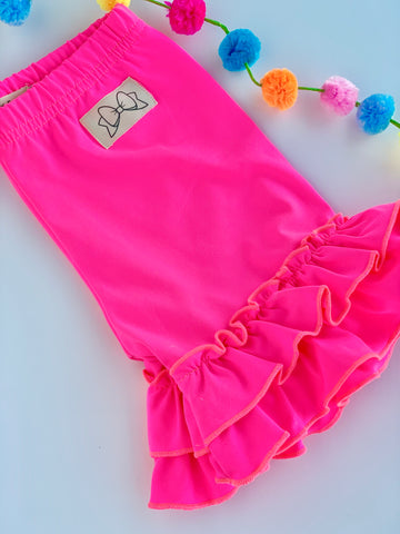 Neon Pink Ruffle Shorties, Neon Pink Ruffle Shorts - Darling Little Bow Shop