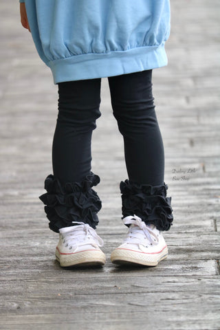 Black Ruffle Leggings - black knit ruffle leggings - comfy knit ruffle pants size Newborn to 10 - Darling Little Bow Shop
