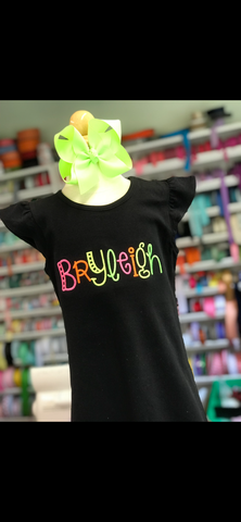 Black Flutter Sleeve dress with neon name - Darling Little Bow Shop