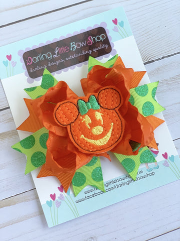 Miss Mouse Halloween Pumpkin Bow - Darling Little Bow Shop