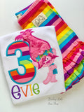 Trolls Birthday Shirt or bodysuit for girls in rainbow colors ANY AGE - Darling Little Bow Shop