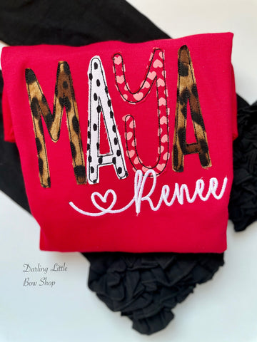Red Valentine Ruffle shirt or Sweatshirt - Darling Little Bow Shop