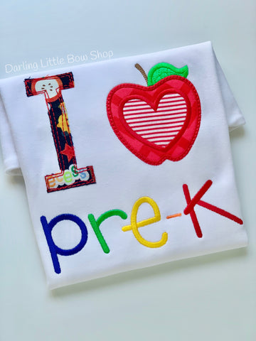 I love School Shirt for boys -- perfect for kindergarten and the first day of school - Darling Little Bow Shop