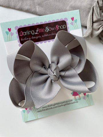 Millenium Silver Hairbow - light gray hair bow - Darling Little Bow Shop
