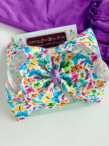 "Butterfly Bow, Butterfly Hairbow, choose 3"", 4-5"" or 6"" - Darling Little Bow Shop"