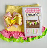 Smiling Lemon hairbow, choose single or double stacked - Darling Little Bow Shop