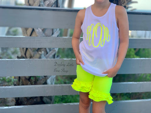 Neon Yellow Monogrammed bodysuit, shirt or tank - Darling Little Bow Shop