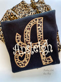 Leopard print initial monogram sweatshirt - Darling Little Bow Shop