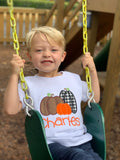Pumpkin shirt or bodysuit for boys and baby boys - Farmhouse Pumpkin Patch - Darling Little Bow Shop