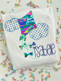 Girls Kite shirt, ruffle shirt, tank or bodysuit -- Royal, Navy and Mint kite in Lilly fabric - Darling Little Bow Shop