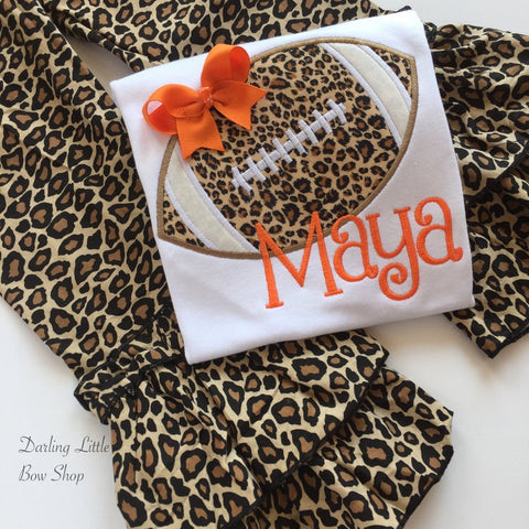 Leopard Football shirt or bodysuit for girls - Darling Little Bow Shop
